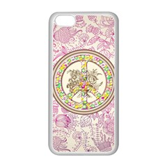 Peace Logo Floral Pattern Apple iPhone 5C Seamless Case (White)