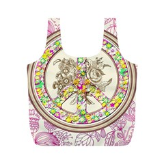 Peace Logo Floral Pattern Full Print Recycle Bags (M)