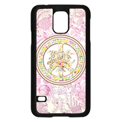 Peace Logo Floral Pattern Samsung Galaxy S5 Case (Black)