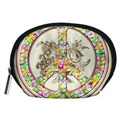 Peace Logo Floral Pattern Accessory Pouches (Medium)