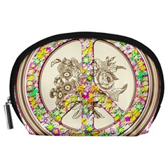 Peace Logo Floral Pattern Accessory Pouches (Large)