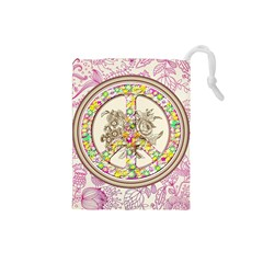 Peace Logo Floral Pattern Drawstring Pouches (Small)