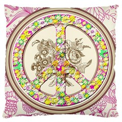 Peace Logo Floral Pattern Large Flano Cushion Case (two Sides)