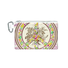 Peace Logo Floral Pattern Canvas Cosmetic Bag (S)