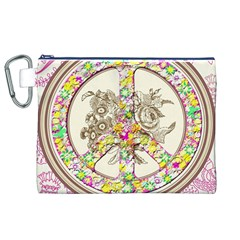 Peace Logo Floral Pattern Canvas Cosmetic Bag (XL)
