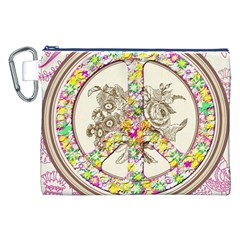 Peace Logo Floral Pattern Canvas Cosmetic Bag (XXL)