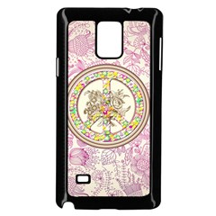 Peace Logo Floral Pattern Samsung Galaxy Note 4 Case (Black)