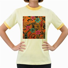 Colorful The Beautiful Of Art Indonesian Batik Pattern Women s Fitted Ringer T-Shirts