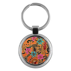 Colorful The Beautiful Of Art Indonesian Batik Pattern Key Chains (Round)