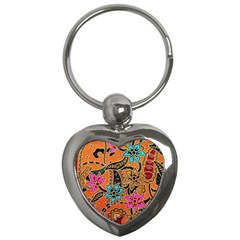 Colorful The Beautiful Of Art Indonesian Batik Pattern Key Chains (heart)