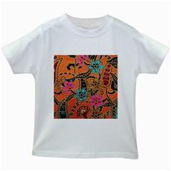 Colorful The Beautiful Of Art Indonesian Batik Pattern Kids White T-Shirts