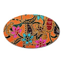 Colorful The Beautiful Of Art Indonesian Batik Pattern Oval Magnet