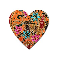 Colorful The Beautiful Of Art Indonesian Batik Pattern Heart Magnet