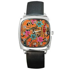 Colorful The Beautiful Of Art Indonesian Batik Pattern Square Metal Watch