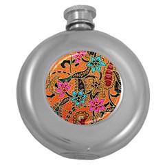 Colorful The Beautiful Of Art Indonesian Batik Pattern Round Hip Flask (5 oz)