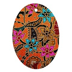 Colorful The Beautiful Of Art Indonesian Batik Pattern Oval Ornament (Two Sides)