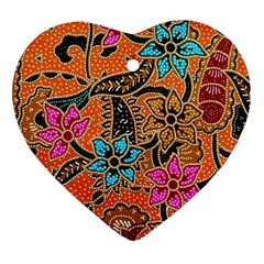 Colorful The Beautiful Of Art Indonesian Batik Pattern Heart Ornament (two Sides)