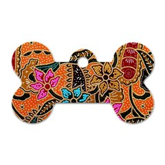 Colorful The Beautiful Of Art Indonesian Batik Pattern Dog Tag Bone (Two Sides)