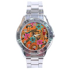 Colorful The Beautiful Of Art Indonesian Batik Pattern Stainless Steel Analogue Watch
