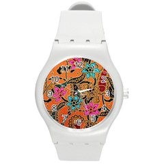 Colorful The Beautiful Of Art Indonesian Batik Pattern Round Plastic Sport Watch (M)