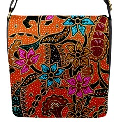 Colorful The Beautiful Of Art Indonesian Batik Pattern Flap Messenger Bag (s)