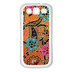 Colorful The Beautiful Of Art Indonesian Batik Pattern Samsung Galaxy S3 Back Case (White)