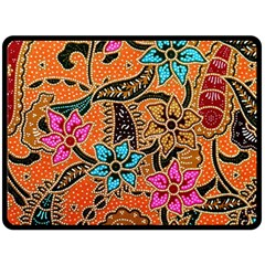 Colorful The Beautiful Of Art Indonesian Batik Pattern Double Sided Fleece Blanket (large)