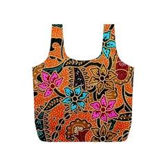 Colorful The Beautiful Of Art Indonesian Batik Pattern Full Print Recycle Bags (S)