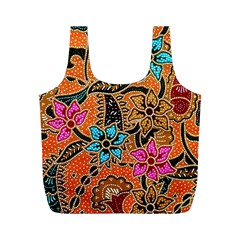 Colorful The Beautiful Of Art Indonesian Batik Pattern Full Print Recycle Bags (M)