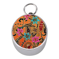 Colorful The Beautiful Of Art Indonesian Batik Pattern Mini Silver Compasses