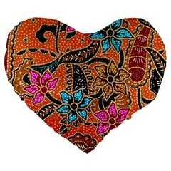 Colorful The Beautiful Of Art Indonesian Batik Pattern Large 19  Premium Flano Heart Shape Cushions