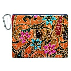 Colorful The Beautiful Of Art Indonesian Batik Pattern Canvas Cosmetic Bag (xxl)