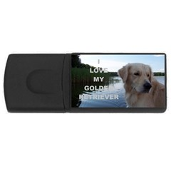 Golden Retriver Love W Pic USB Flash Drive Rectangular (1 GB)
