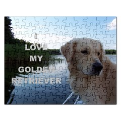 Golden Retriver Love W Pic Rectangular Jigsaw Puzzl