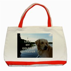 Golden Retriver Love W Pic Classic Tote Bag (Red)