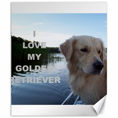 Golden Retriver Love W Pic Canvas 8  x 10