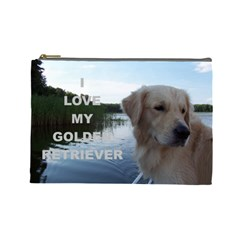 Golden Retriver Love W Pic Cosmetic Bag (Large)