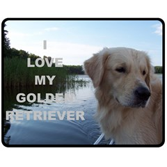 Golden Retriver Love W Pic Fleece Blanket (Medium)