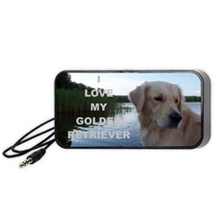 Golden Retriver Love W Pic Portable Speaker (Black)
