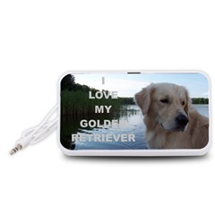 Golden Retriver Love W Pic Portable Speaker (White)
