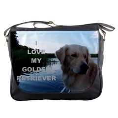 Golden Retriver Love W Pic Messenger Bags