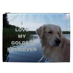 Golden Retriver Love W Pic Cosmetic Bag (XXL)