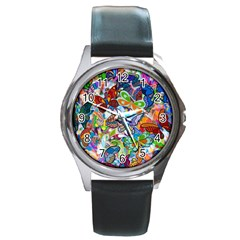Color Butterfly Texture Round Metal Watch