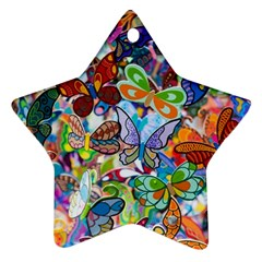 Color Butterfly Texture Ornament (star)
