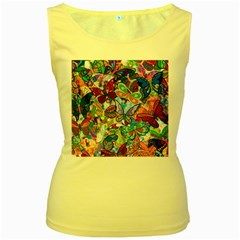 Color Butterfly Texture Women s Yellow Tank Top