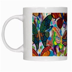Color Butterfly Texture White Mugs