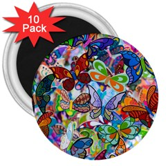 Color Butterfly Texture 3  Magnets (10 Pack)