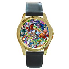 Color Butterfly Texture Round Gold Metal Watch