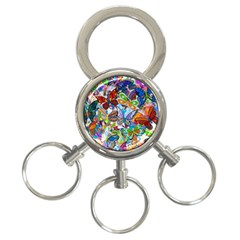Color Butterfly Texture 3-Ring Key Chains