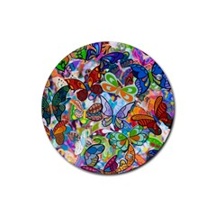 Color Butterfly Texture Rubber Coaster (Round)